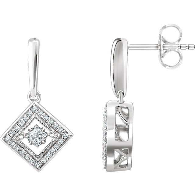 Striking Sterling Silver 1/2 Carat Total Weight Square Genuine Diamond Geometric Earrings