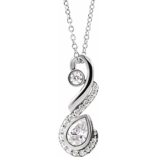 Real Diamond Necklace in Sterling Silver 1/2 Carat Diamond Freeform Necklace