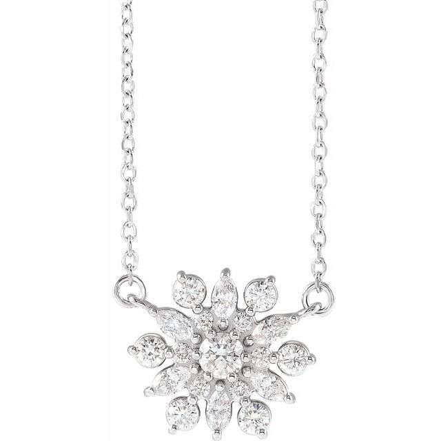 Real Diamond Necklace in Sterling Silver 1/2 Carat Diamond Vintage-Inspired 18