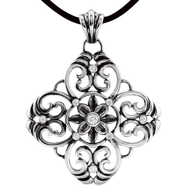 Gorgeous Sterling Silver 0.33 Carat Total Weight Diamond Filigree 18