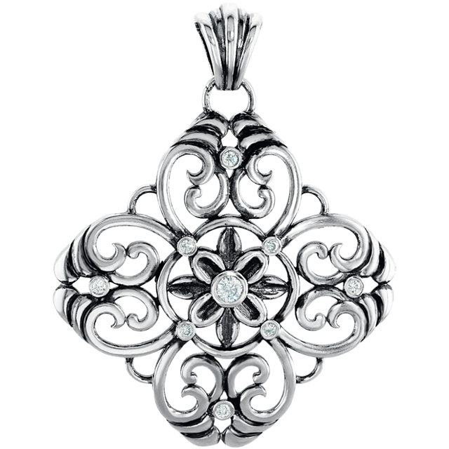 Must See Sterling Silver 0.33 Carat Total Weight Diamond Filigree Pendant