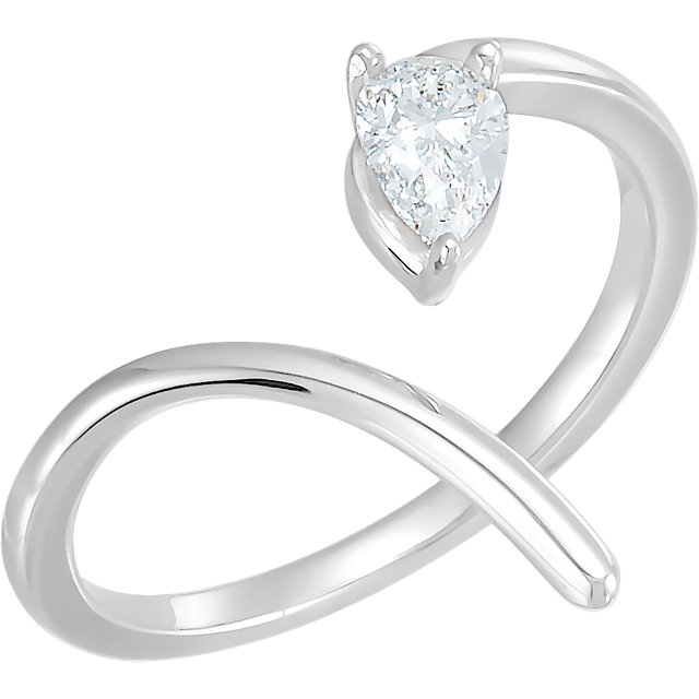 Low Price on Quality Sterling Silver 0.33 Carat TW Diamond Negative Space Ring