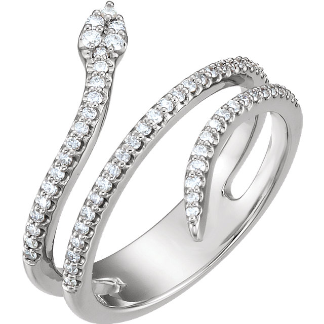 Sterling Silver 0.33 Carat TW Diamond Snake Ring