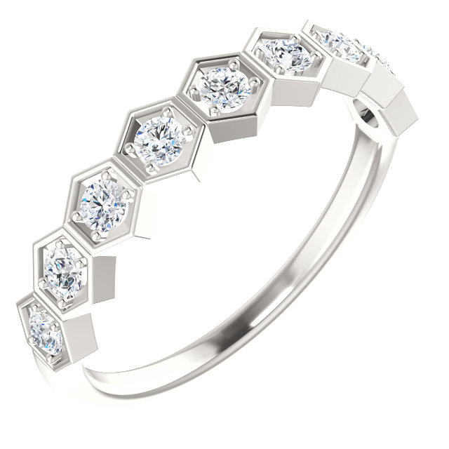 Eye Catchy Sterling Silver 0.33 Carat Total Weight Diamond Stackable Ring