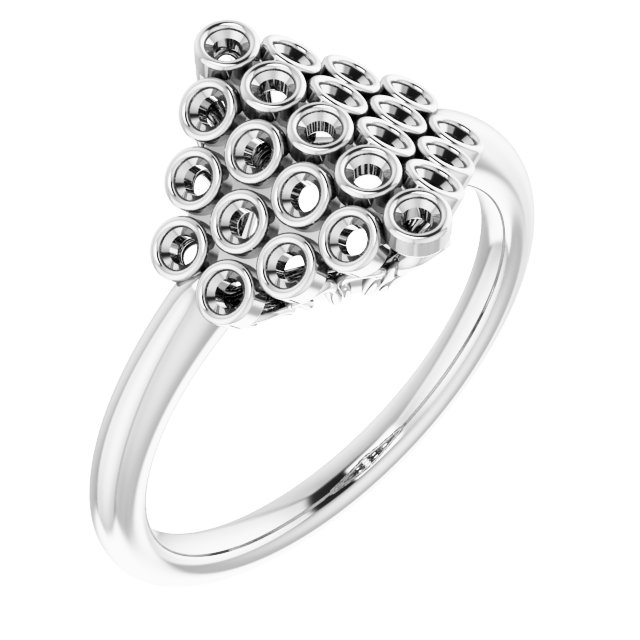 Genuine Diamond Ring in Sterling Silver 1/3 Carat Diamond Bezel-Set Cluster Ring