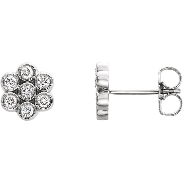 Eye Catchy Sterling Silver 0.25 Carat Total Weight Diamond Cluster Earrings