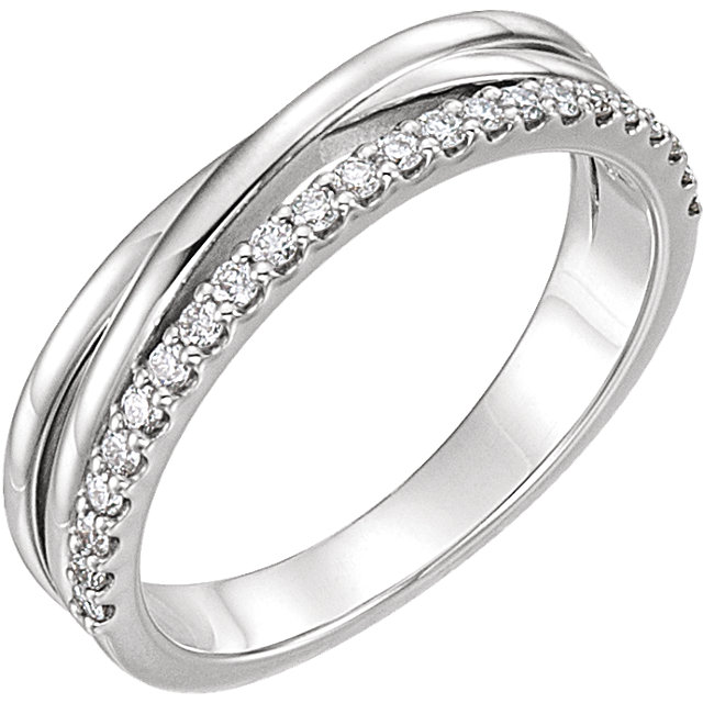 Fine Sterling Silver 0.25 Carat TW Diamond Criss-Cross Ring