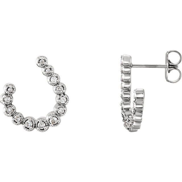 Gorgeous Sterling Silver 0.25 Carat Total Weight Diamond Earrings