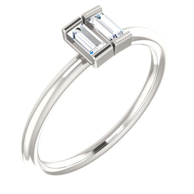 Surprise Her with  Sterling Silver 0.25 Carat Total Weight Diamond Two-Stone Ring