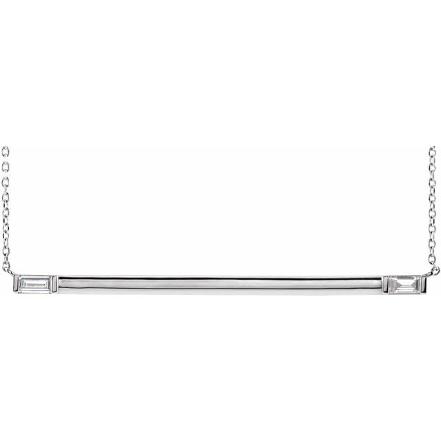 Real Diamond Necklace in Sterling Silver 1/4 Carat Diamond Bar 16