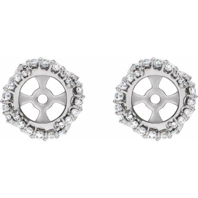 Natural Diamond Earrings in Sterling Silver 1/4 Carat Diamond Halo-Style Earring Jackets with 5.7 mm ID