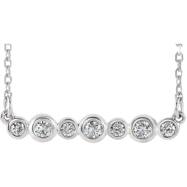 Surprise Her with  Sterling Silver 0.20 Carat Total Weight Diamond Bezel-Set Bar 16-18