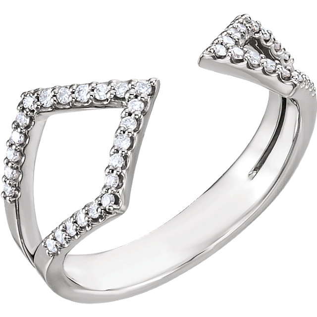Must See Sterling Silver 0.20 Carat Total Weight Diamond Geometric Ring