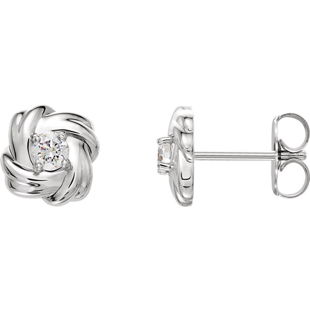 Contemporary Sterling Silver 0.20 Carat Total Weight Diamond Knot Earrings