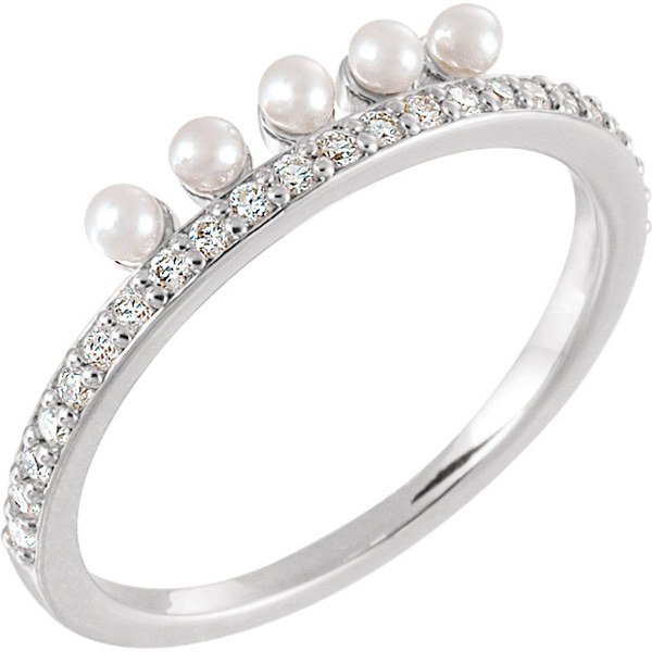 Sterling Silver 1/5 Carat Total Weight Diamond Semi-set Stackable Pearl Ring for Pearl