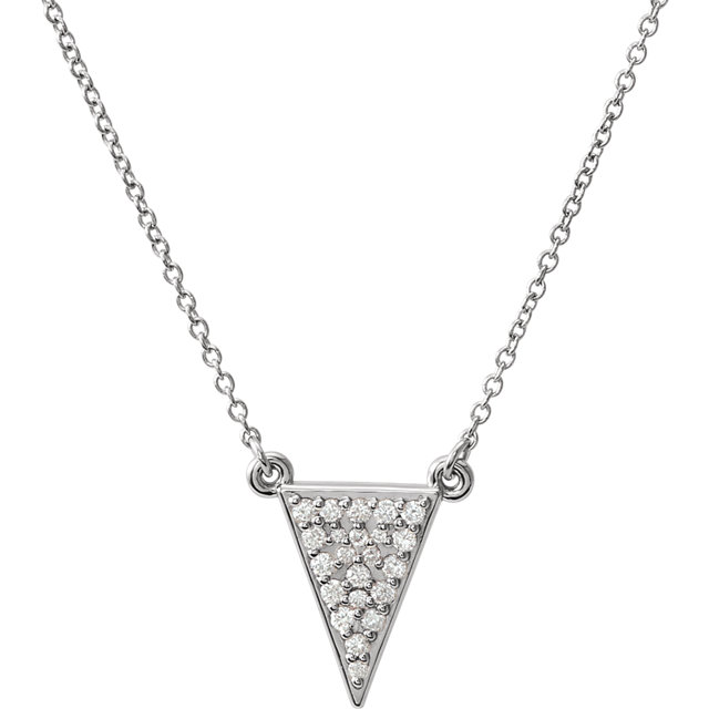 Fine Quality Sterling Silver 0.20 Carat Total Weight Diamond Triangle 16.5