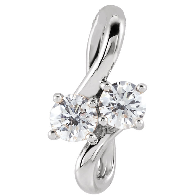 Perfect Gift Idea in Sterling Silver 0.20 Carat Total Weight Diamond Two-Stone Bypass Pendant