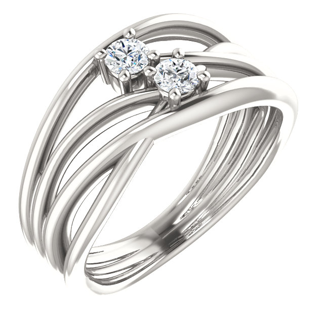 Great Deal in Sterling Silver 0.20 Carat Total Weight Diamond Two-Stone Bypass Ring