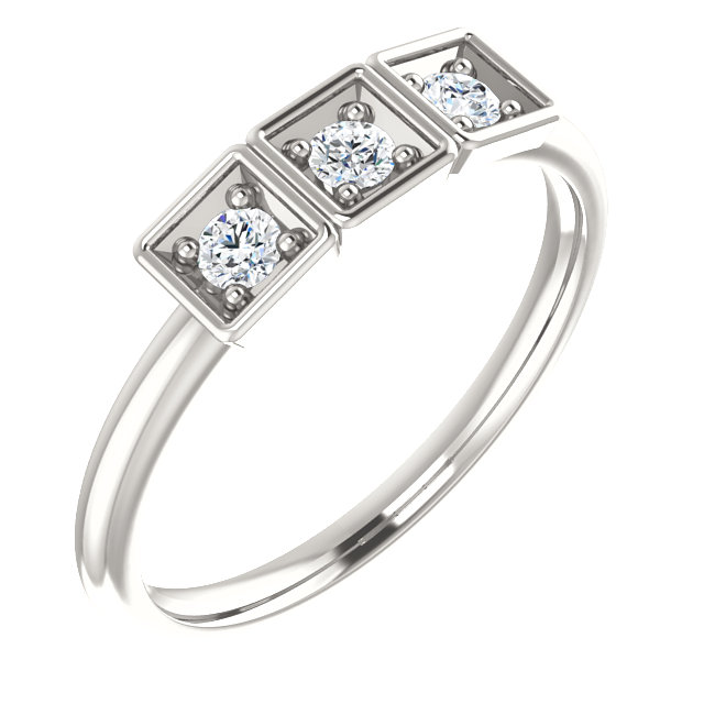 Contemporary Sterling Silver 0.20 Carat Total Weight Stackable Ring