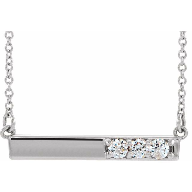 Real Diamond Necklace in Sterling Silver 1/5 Carat Diamond Bar 16-18
