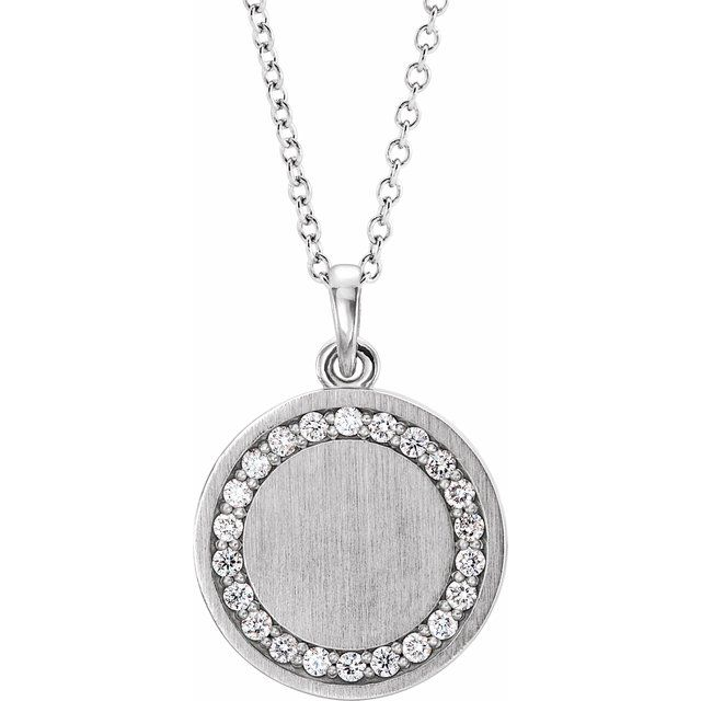 Real Diamond Necklace in Sterling Silver 1/5 Carat Diamond Engravable 16-18