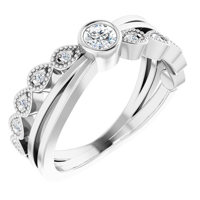 Genuine Diamond Ring in Sterling Silver 1/5 Carat Diamond Ring