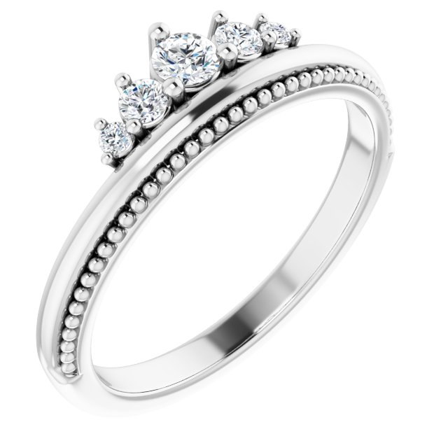 Genuine Diamond Ring in Sterling Silver 1/5 Carat Diamond Stackable Crown Ring