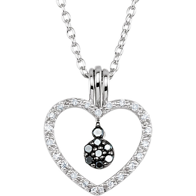 Buy Sterling Silver 0.17 Carat Black & White Diamond Heart 18