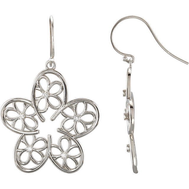 Sterling Silver 0.17 Carat Diamond Floral-Inspired Earrings