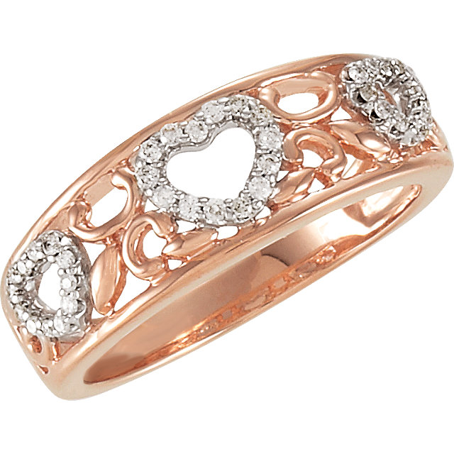 Captivating Sterling Silver 1/6 Carat Total Weight Round Genuine Diamond Heart Design Ring Size 7
