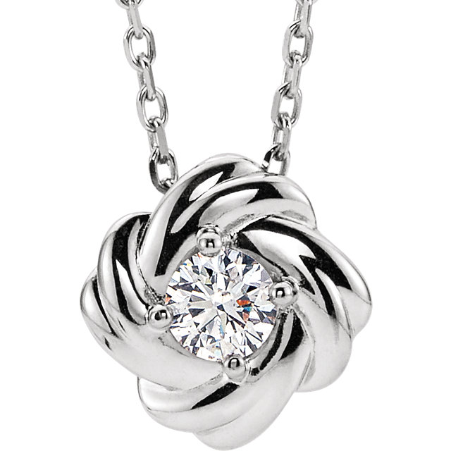 Beautiful Sterling Silver 0.17 Carat Total Weight Diamond Knot 16-18