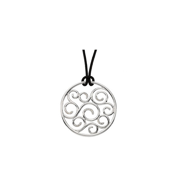Must See Sterling Silver 0.17 Carat TW Diamond Pendant on 18
