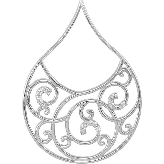 Fine Quality Sterling Silver 0.17 Carat Total Weight Diamond Scroll Pendant