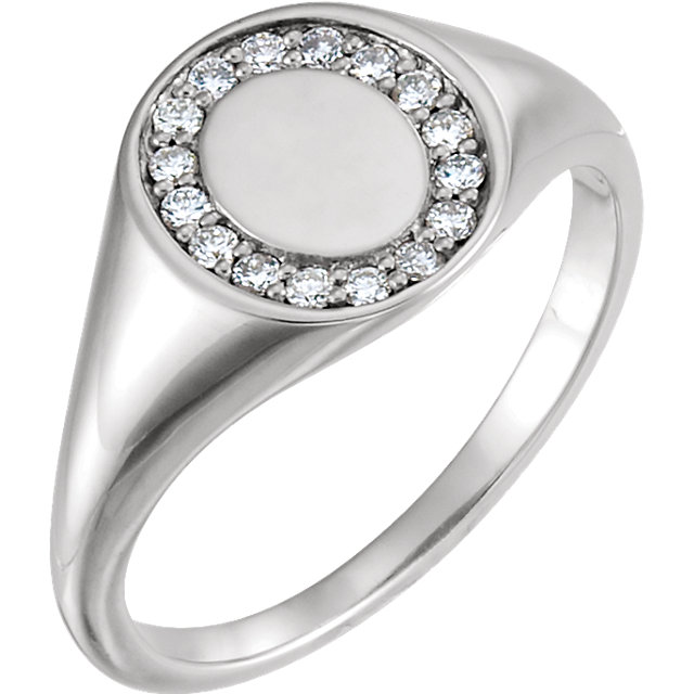 Perfect Gift Idea in Sterling Silver 0.17 Carat Total Weight Diamond Signet Ring