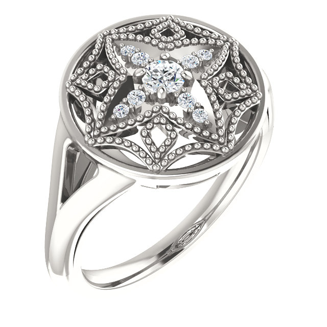 Contemporary Sterling Silver 0.17 Carat Total Weight Diamond Vintage-Inspired Ring