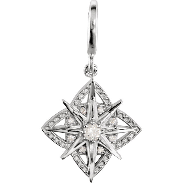 Wonderful Sterling Silver 0.17 Carat Total Weight Diamond Vintage-Style Dangle Charm