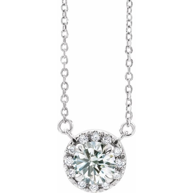 Real Diamond Necklace in Sterling Silver 1/6 Carat Diamond 18