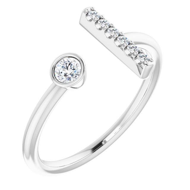 Genuine Diamond Ring in Sterling Silver 1/6 Carat Diamond Bar Ring