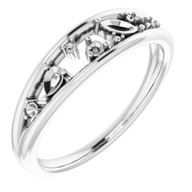 Genuine Diamond Ring in Sterling Silver 1/6 Carat Diamond Negative Space Ring