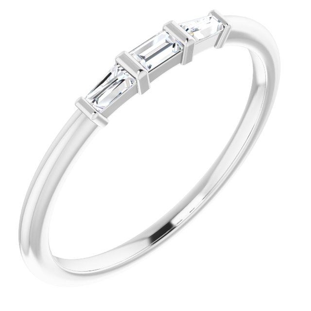 Genuine Diamond Ring in Sterling Silver 1/6 Carat Diamond Three-Stone Stackable Ring