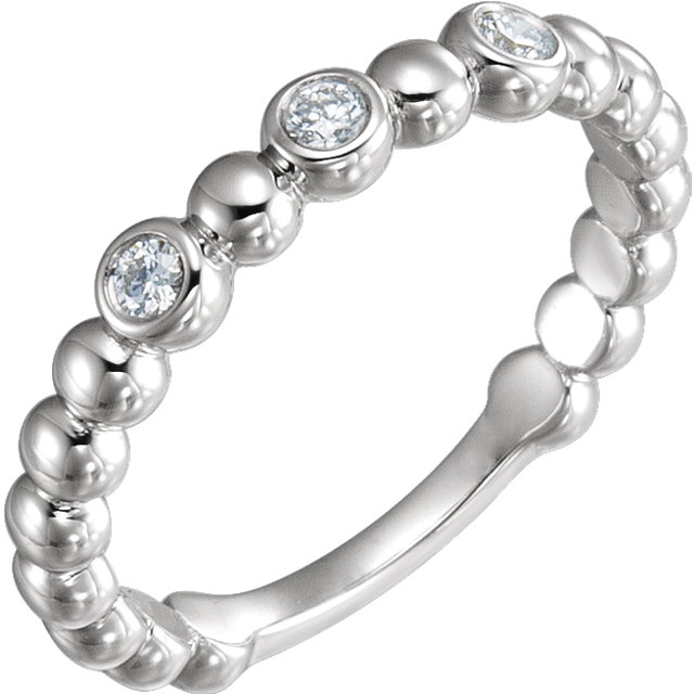 Eye Catchy Sterling Silver 0.12 Carat Total Weight Diamond Beaded Ring