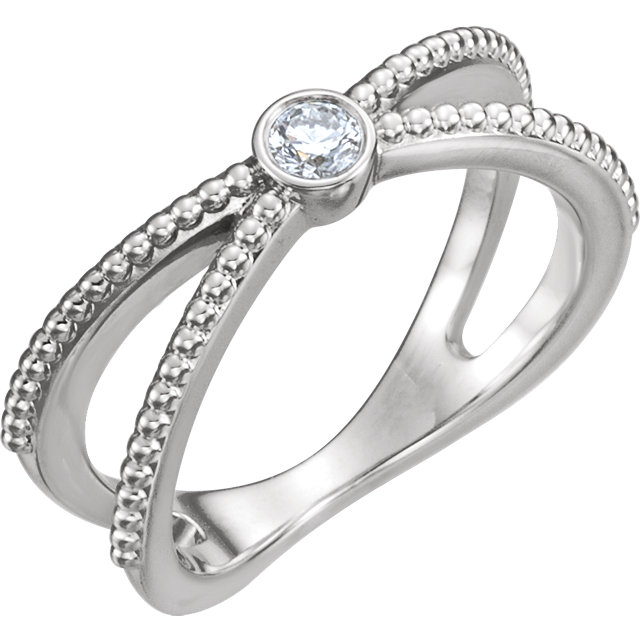 Beautiful Sterling Silver 0.12 Carat Total Weight Diamond Bezel-Set Beaded Ring
