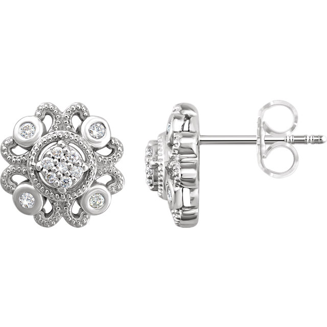 Quality Sterling Silver 0.12 Carat TW Diamond Cluster Earrings