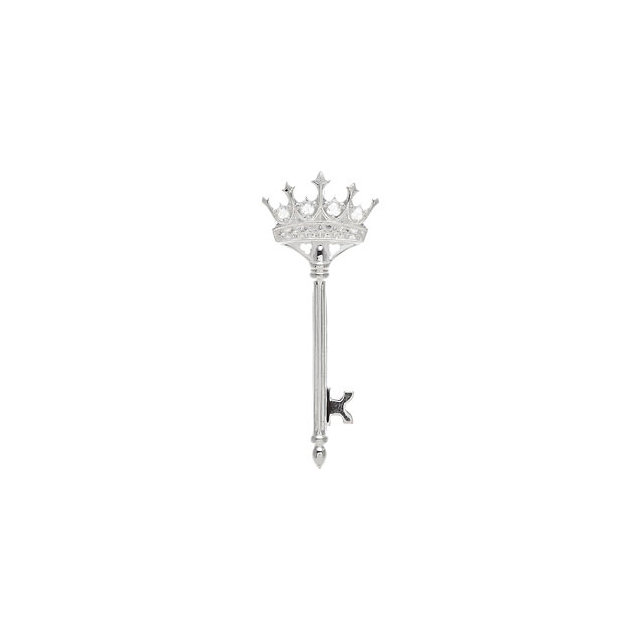 Contemporary Sterling Silver 0.10 Carat Total Weight Diamond Crown Key Pendant