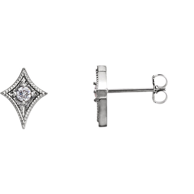 Perfect Gift Idea in Sterling Silver 0.12 Carat Total Weight Diamond Geometric Earrings