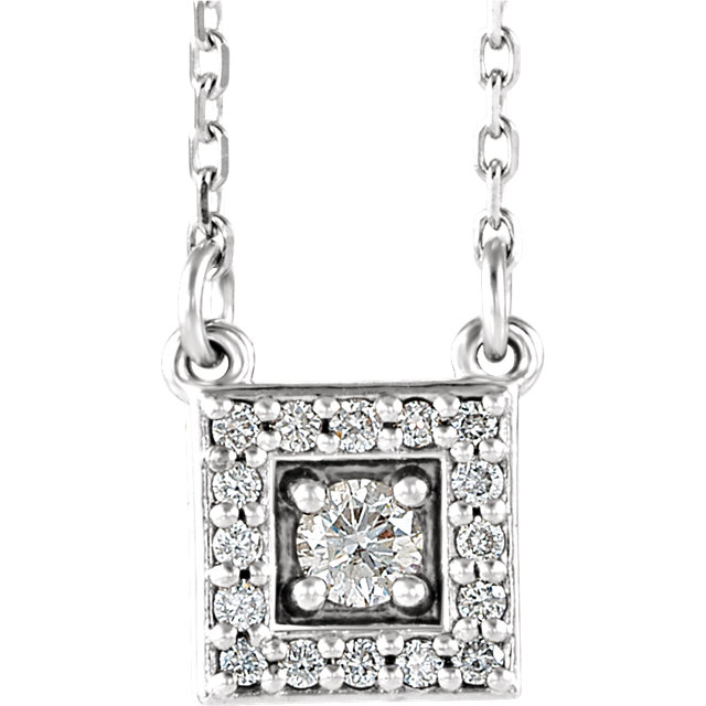 Contemporary Sterling Silver 0.12 Carat Total Weight Diamond Halo-Style Square 16-18
