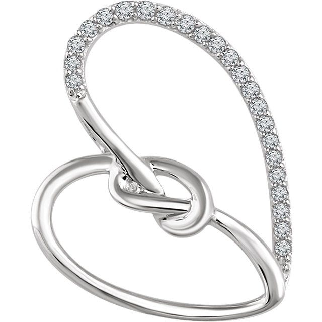 Stunning Sterling Silver 1/8 Carat Total Weight Diamond Heart Knot Pendant