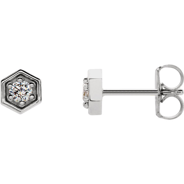 Perfect Jewelry Gift Sterling Silver 0.12 Carat Total Weight Diamond Hexagon Stud Earrings