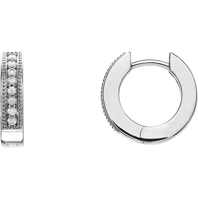 Appealing Jewelry in Sterling Silver 0.12 Carat Total Weight Diamond Hoop Earrings with Milgrain