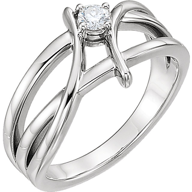 Genuine  Sterling Silver 0.12 Carat Diamond Ring